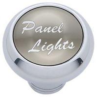 "Chrome Aluminum ""panel lights"" Dash Knob with Silver Aluminum Sticker"