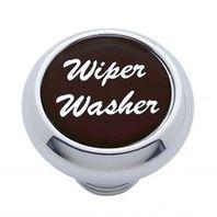 "Chrome Aluminum ""Wiper/Washer"" Dash Knob With Black Aluminum Sticker"