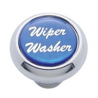 "Chrome Aluminum ""Wiper/Washer"" Dash Knob With Blue Aluminum Sticker"