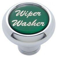 "Chrome Aluminum ""Wiper/Washer"" Dash Knob With Green Aluminum Sticker"