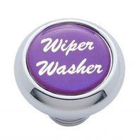 "Chrome Aluminum ""Wiper/Washer"" Dash Knob With Purple Aluminum Sticker"