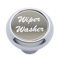 "Chrome Aluminum ""Wiper/Washer"" Dash Knob With Silver Aluminum Sticker"