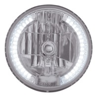 "7"" DIA. CRYSTAL HEADLIGHT BULB WITH 34 AUXILIARY LED - WHITE, Car, Truck, Street"