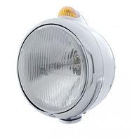 """UPI 32394 Stainless """"GUIDE""""  Headlight - H4 Bulb w/ 2 func. Amber LED/Amber Lens"""