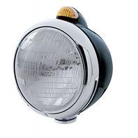 "UPI 32410 Black ""GUIDE""  Headlight -6014 Bulb w/Dual Function Amber LED & Lens"