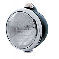 """UPI 32411 Black """"GUIDE""""  Headlight - 6014 Bulb w/ 2 Function Amber LED/Clear Len"""