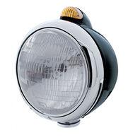 """UPI 32412 Black """"GUIDE""""  Headlight - H6024 Bulb w/ Dual Function Amber LED & Len"""