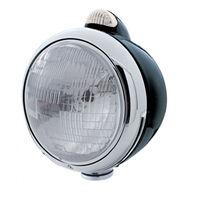 """UPI 32413 Black """"GUIDE""""  Headlight - H6024 Bulb w/2 Function Amber LED/Clear Len"""