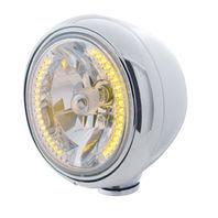 "UPI 32419 Chrome ""GUIDE"" Headlight w/ No Turn Signal - 34 Amber LED H4 Bulb"