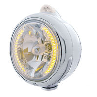 "UPI 32427 Chrome ""GUIDE""  Headlight - 34 Amber LED H4 Bulb w/Amber LED/Clear Len"