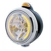 """UPI 32430 Black """"GUIDE""""  Headlight - 34 Amber LED H4 Bulb w/ Amber LED & Lens"""