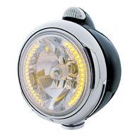 "UPI 32431 Black ""GUIDE""  Headlight - 34 Amber LED H4 Bulb w/ Amber LED/Clear Len"