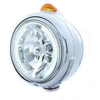 "UPI 32438 Chrome ""Guide""  Headlight - 34 White LED H4 Bulb w/Amber LED/Amber Len"