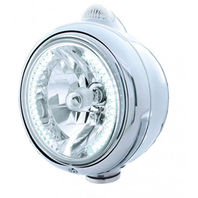 "UPI 32439 Chrome ""Guide""  Headlight - 34 White LED H4 Bulb w/Amber LED/Clear Len"