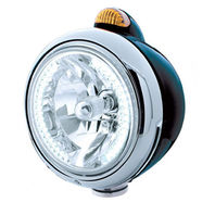 "UPI 32442 Black ""GUIDE""  Headlight - 34 White LED H4 Bulb w/ Amber LED & Lens"