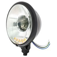 "Black 5 3/4"" Bottom Mount Crystal Headlight & 5 Amber LED Position Light"