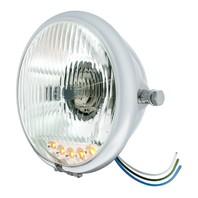 "Chrome 5 3/4"" Side Mount Crystal Headlight & 5 Amber LED Position Light"