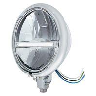 """Chrome 5 3/4"""" Bottom Mount 9 LED Headlight & White LED Postion Light Bar"""