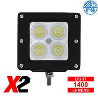 """4 High Power LED """"X2""""  Spot Light - Bracket Mount, 1400 Lumens LED, IP68, Each"""
