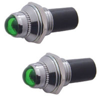"2 Green Mini Pilot  Lights - Incandescent, Fits 3/8"" Dash Hole, Sold As Pair"