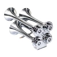 Chrome Small 4 Trumpet Air Horn - Hot Rat Street Rod Motorcycle Custom