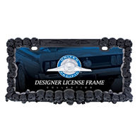 3D Black Skulls License Plate Frame - Hot Rat Street Rod Muscle Car Truck