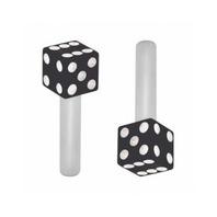 Hot Rod Dice Door Lock Pulls Black with White Dots 2 Piece Set
