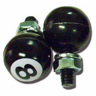 Black 8 Ball License Plate Fasteners, Set of 2, Hot Rod, Rat Rod, Gasser