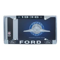 1936 Ford License Plate Frame Chrome Finish with Blue and White Script