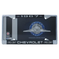 1967 Chevy Chrome License Plate Frame with Chevrolet Bowtie Blue / White Script