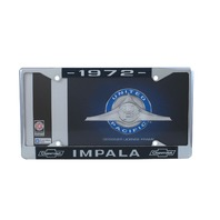 1972 Chevy Impala Chrome License Plate Frame with Blue and White Script