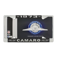 """1973 Chevy """"Camaro"""" Chrome License Plate Frame with Year and Chevrolet Bowtie"""