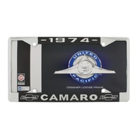 "1974 Chevy ""Camaro"" Chrome License Plate Frame with Year and Chevrolet Bowtie"