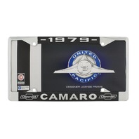 """1979 Chevy """"Camaro"""" Chrome License Plate Frame with Year and Chevrolet Bowtie"""