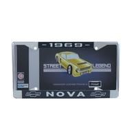 1969 Chevy Nova Chrome License Plate Frame with Blue and White Script