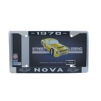 1970 Chevy Nova Chrome License Plate Frame with Blue and White Script