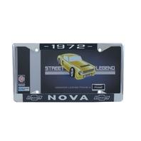 1972 Chevy Nova Chrome License Plate Frame with Blue and White Script