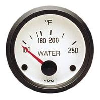 VW BUG AIR COOLED, VDO COCKPIT WHITE WATER TEMP GAUGE 250 DEGREE 310239