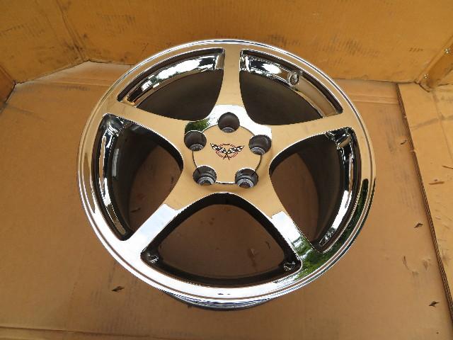97-04 Chevrolet Corvette C5 #1063 18 x 9.5 Rear Polished 5-Spoke Wheel OEM (1)