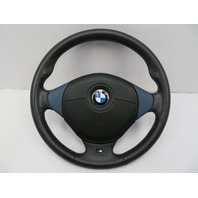 BMW Z3 M Roadster E36 #1058 3-Spoke Leather Steering Wheel & Airbag Black/Blue