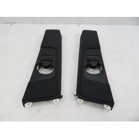 01-06 BMW M3 E46 #1071 Cloth Black B-Pillar Seatbelt Adjustment Trim Pair Set