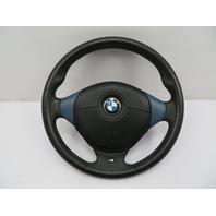 BMW Z3 M Roadster E36 #1077 3-Spoke Leather Steering Wheel & Airbag Black / Blue