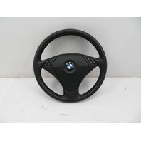 BMW 525i 550i E60 #1084 Black Leather 3-spoke Steering Wheel W/ Airbag