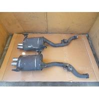 02 BMW Z3 M Roadster E36 #1124 Exhaust Mufflers W/Mounts, OEM S52 Quad Tip