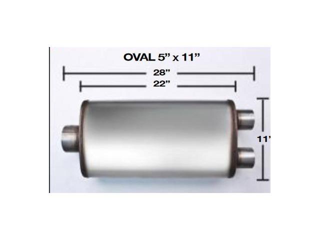 "Universal Max Flow Stainless steel  Muffler 2.25/"" Center Dual reversible"