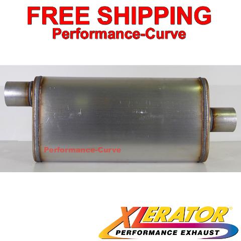 "Xlerator XS1256 Performance Muffler Stainless Steel 4/""x9/"" Offset//Center 18/"" Body"