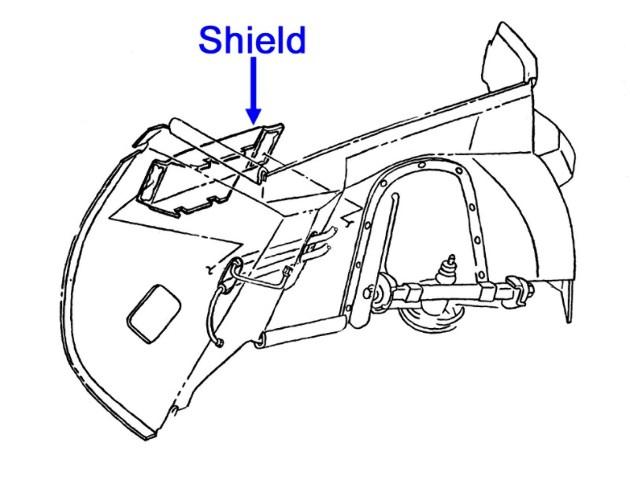 Corvette Original Passengers Side Rh Inner Fender Ac Line Shield