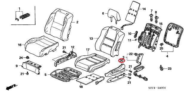 Honda Genuine 81531-SDN-A31ZB Cushion Trim Cover