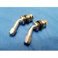 2 PCS 45 DEG CHROME VALVE STEMS FOR HARLEY CUSTOM 40 48 52 SPOKE TUBELESS WHEELS