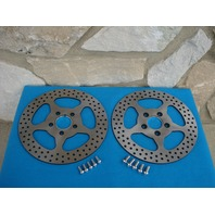 "11 1/2"" STAR SATIN FRONT & REAR BRAKE ROTOR PAIR FOR HARLEYS 1984-UP WITH FREE BOLTS"